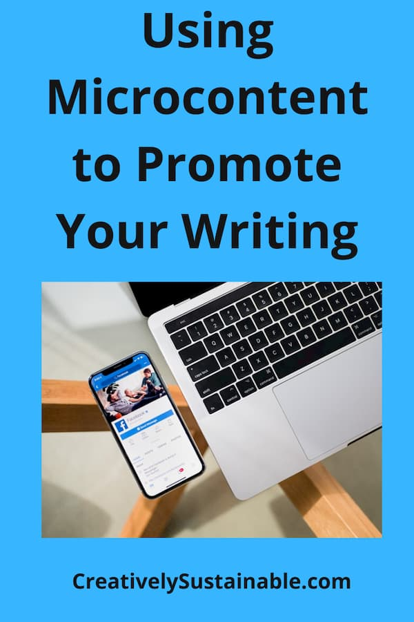 Using Microcontent to Promote Your Writing with image of a smart phone and a laptop
